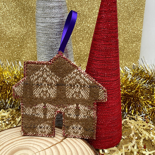 Handwoven Gingerbread House Decoration - Peacock