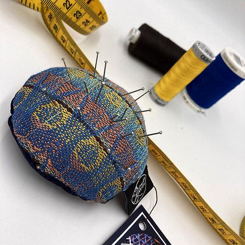 Handwoven Round Pin Cushion - Golden Denim
