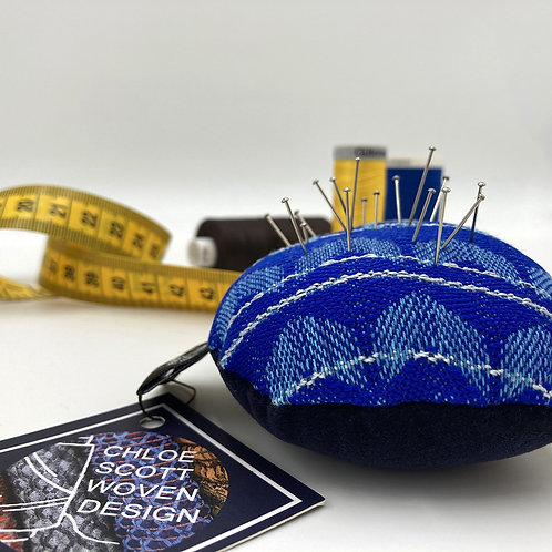 Handwoven Round Pin Cushion - That Blue One