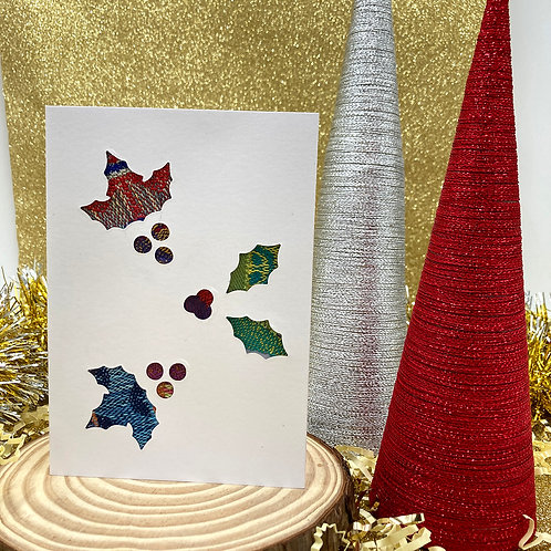 Handmade Holly Christmas Card
