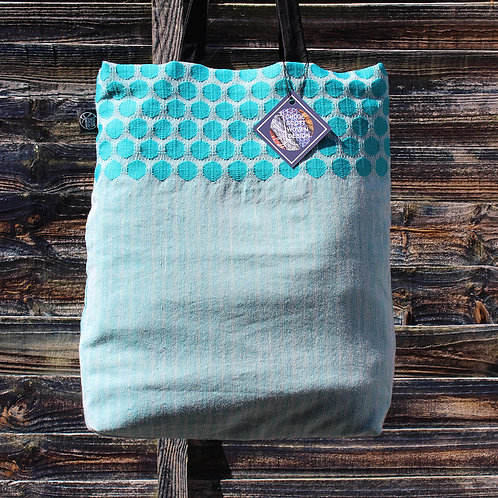 Handwoven Teal Tote Bag