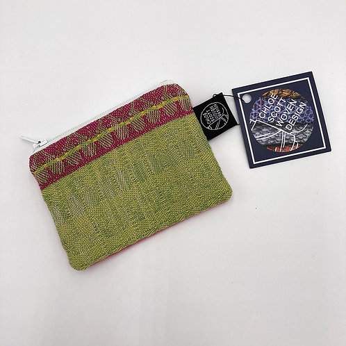 Handwoven Coin Purse - Lime and Hot Pink
