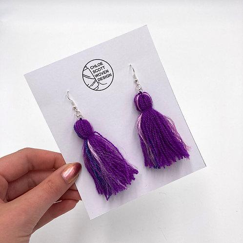 Purple/Pink Hand-dyed Short Tassel Earrings
