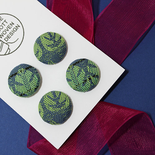 Handwoven Chunky Buttons - Navy Palm