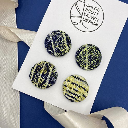 Handwoven Chunky Buttons - Navy Wings