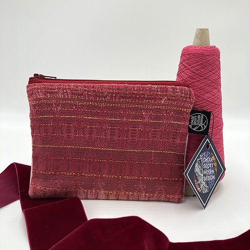 Handwoven Small Pouch - Cherry Chapstick