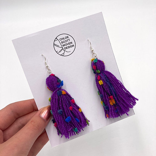Purple Rainbow Hand-dyed Short Tassel Earrings