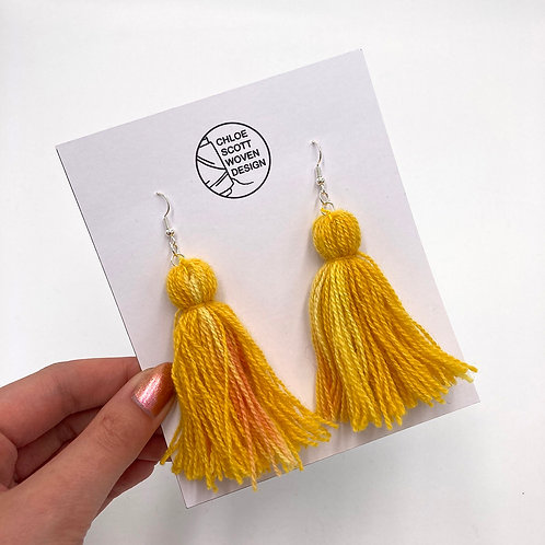 Yellow Hand-dyed Short Tassel Earrings