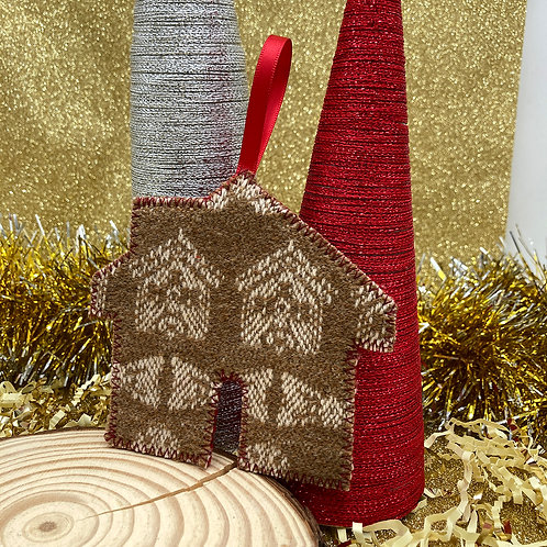Handwoven Gingerbread House Decoration - Plain and Simple