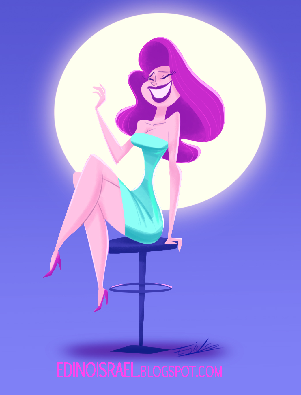 mujer sentada character design
