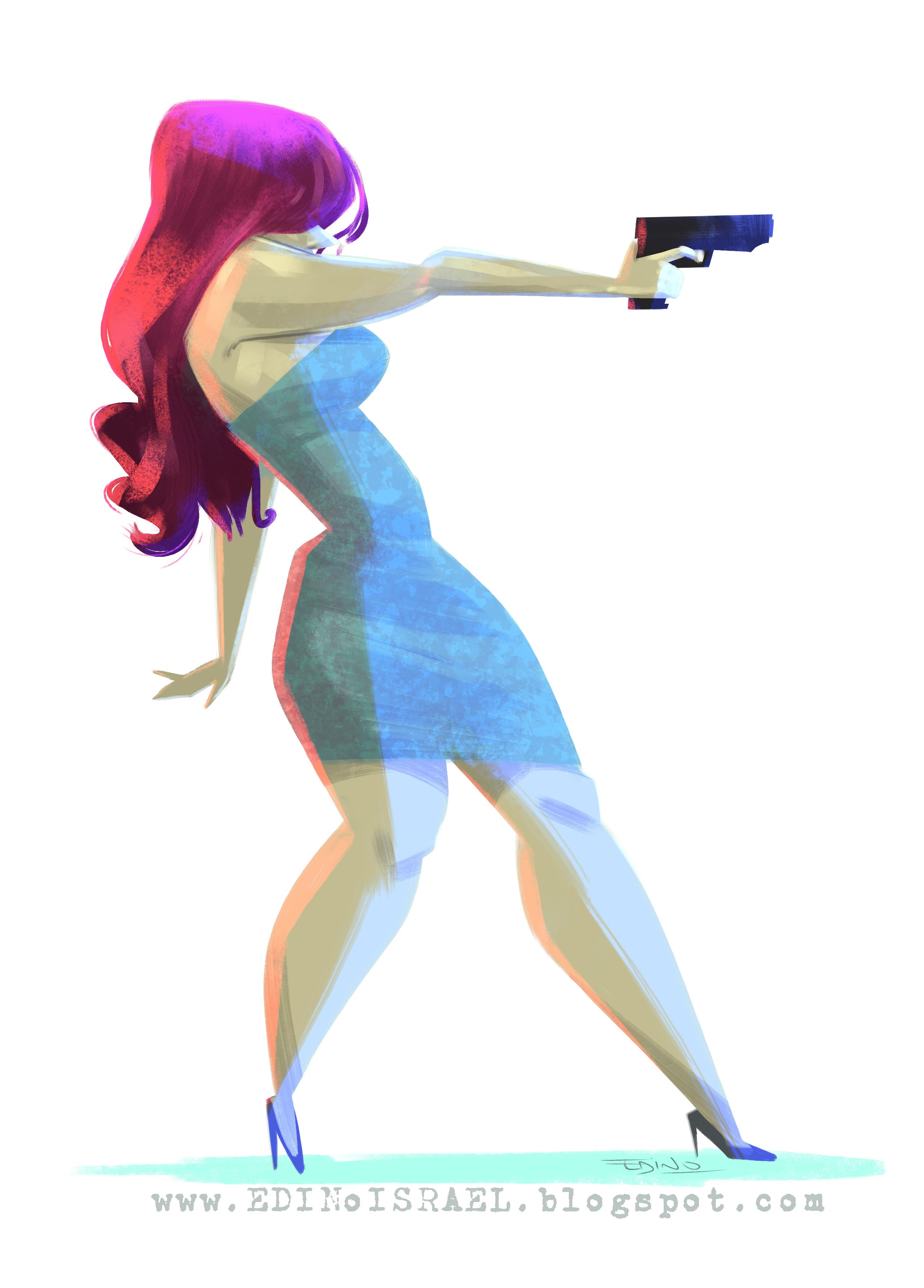 chica disparando character