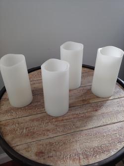4 white battery pillar candles