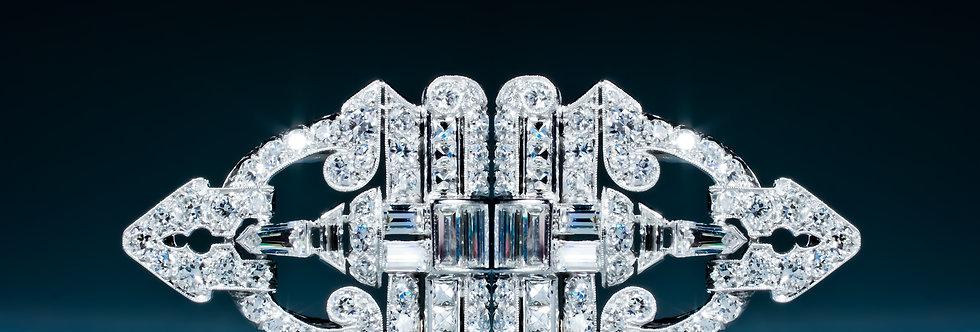 A very fine Art Deco diamond double clip brooch by Caldwell & Co