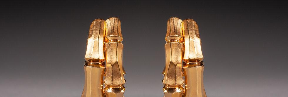 A pair of 18 karat gold bamboo earrings by Cartier
