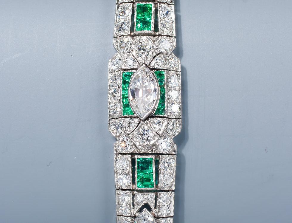 An Art Deco emerald and diamond bracelet