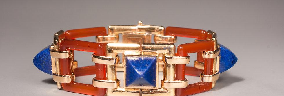An unusual Art Deco cornelian and lapis bracelet by Georges Lenfant