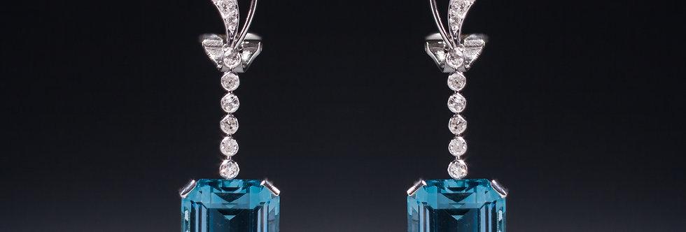 A beautiful pair of aquamarine and diamond earrings