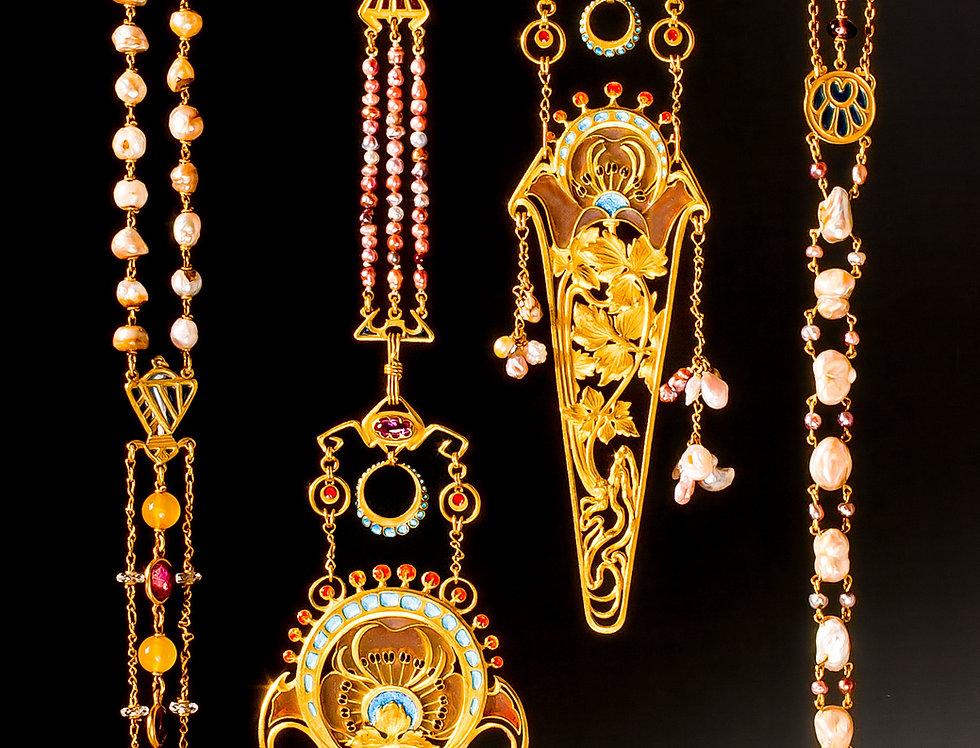 An important Art Nouveau 'chaîne de corsage' by Fouquet and Mucha