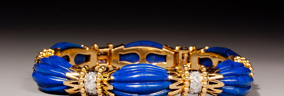 A very fine lapis and diamond bracelet by Van Cleef & Arpels
