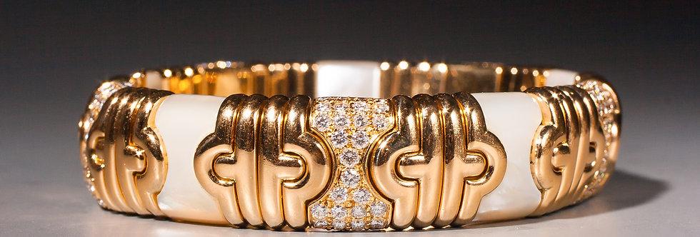 A gold, diamond and mother of pearl 'parentesi' bracelet by Bulgari