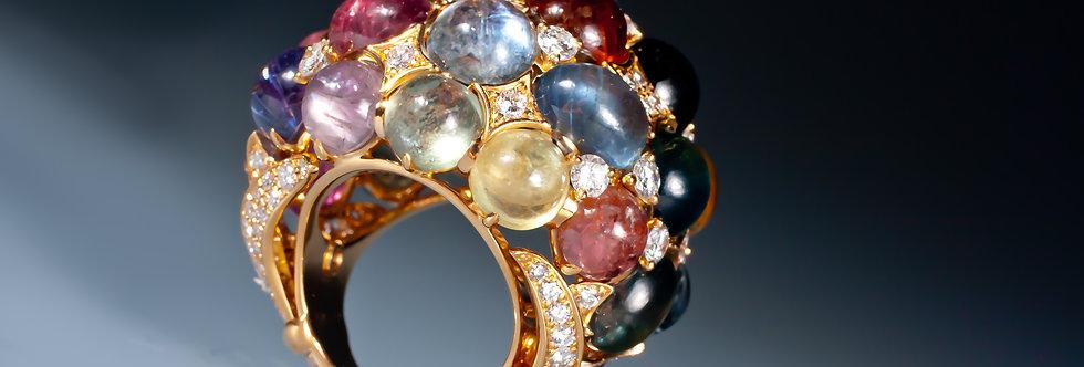 An impressive sapphire and diamond bombé ring
