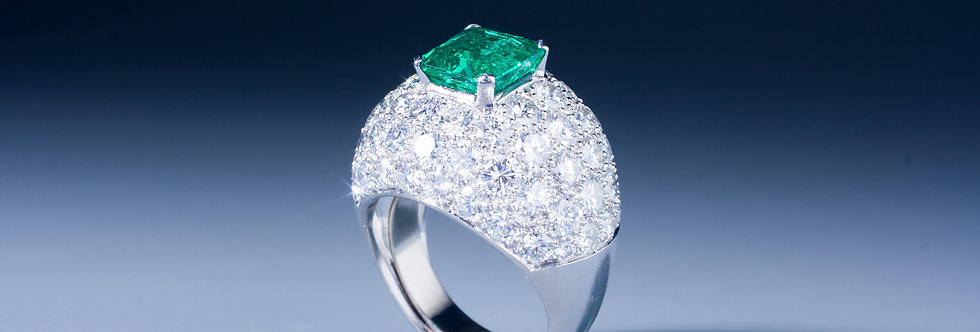 An exquisite emerald and diamond ring