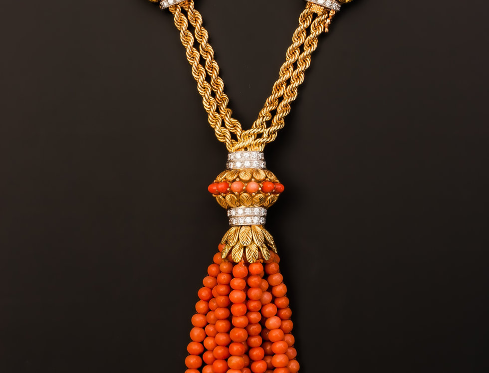 A beautiful Retro coral and diamond tassel necklace by Fabergé, Paris