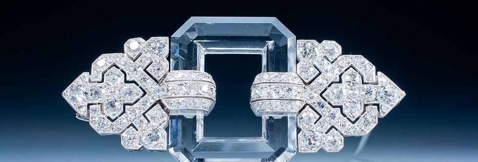 A very fine Art Deco rock crystal and diamond brooch by Linzeler - Marchak