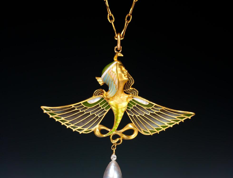A rare Art Nouveau Isis pendant by L. Gautrait