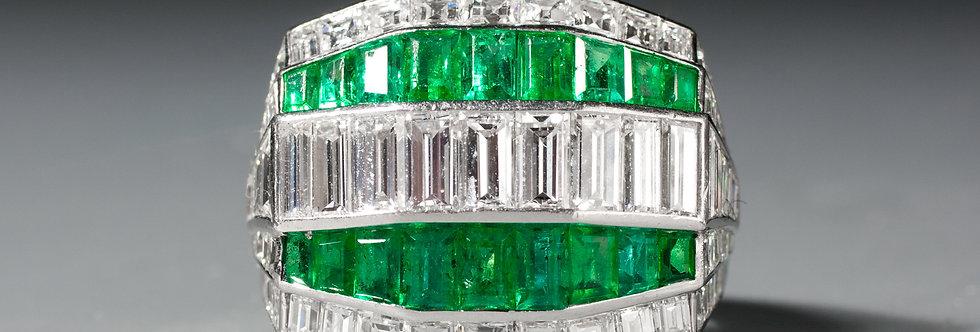 A wonderful Art Deco emerald and diamond ring