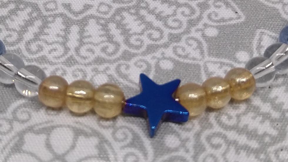 Irridescent Blue Metal Infinity Wrap Bracelets