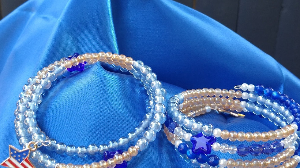 Blue, Champagne & White with Charm