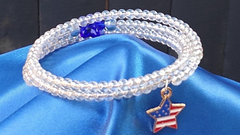 White with Blue Star and Charm
