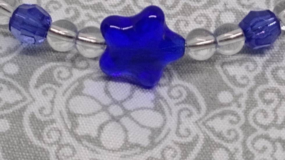 Czech Fired Polished Glass Blue Star Infinity Bracelet