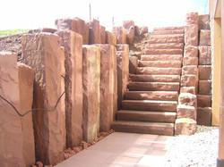 Treppe aus rotem Buntsandstein