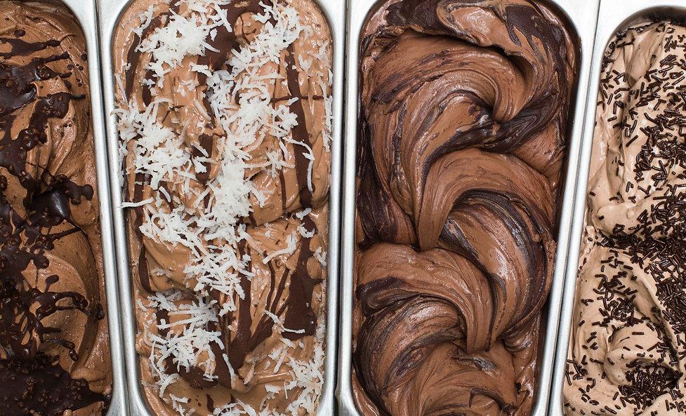 Deliciosos sorvetes chocolatudos