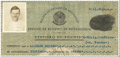 Certidão de Registro de Estrangeiros comprova a chegada de Carlos Bertan vindo de Verona na Itália
