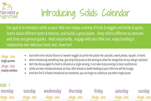 Introduction to Solids Calendar