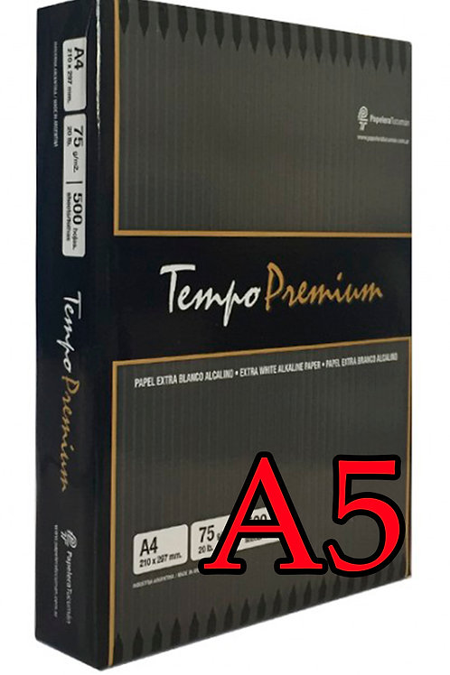 RESMA TEMPO PREMIUM A5 DE 75 GR X 1000 HOJAS