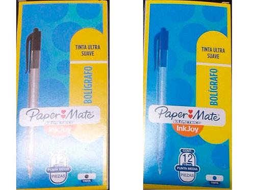 Bolígrafo Retráctil Paper Mate Injoy X 12 Unidades