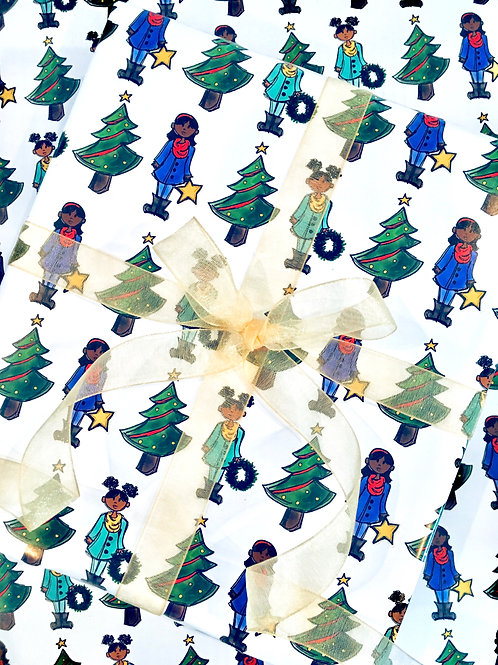Brown Girls Christmas Wrapping Paper