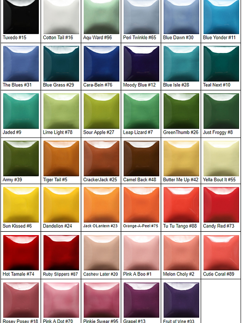 Choose your colors here. One color per container.