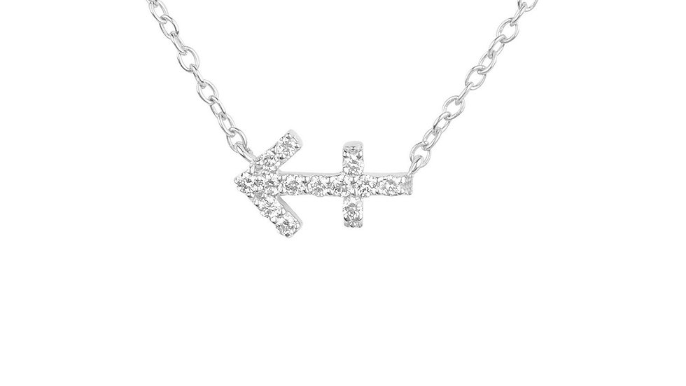 Diamond Zodiac Silver Necklace Sagittarius