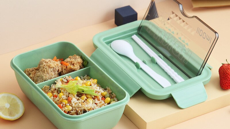 1100ml Microwave Lunch Box Portable 2 Layer Food Container  With Cutlery
