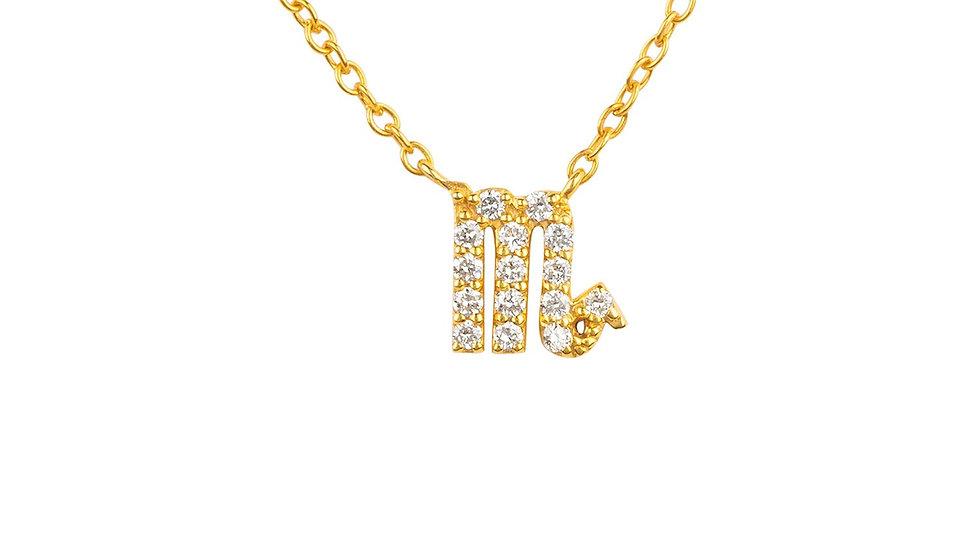 Diamond Zodiac Necklace Gold Scorpio