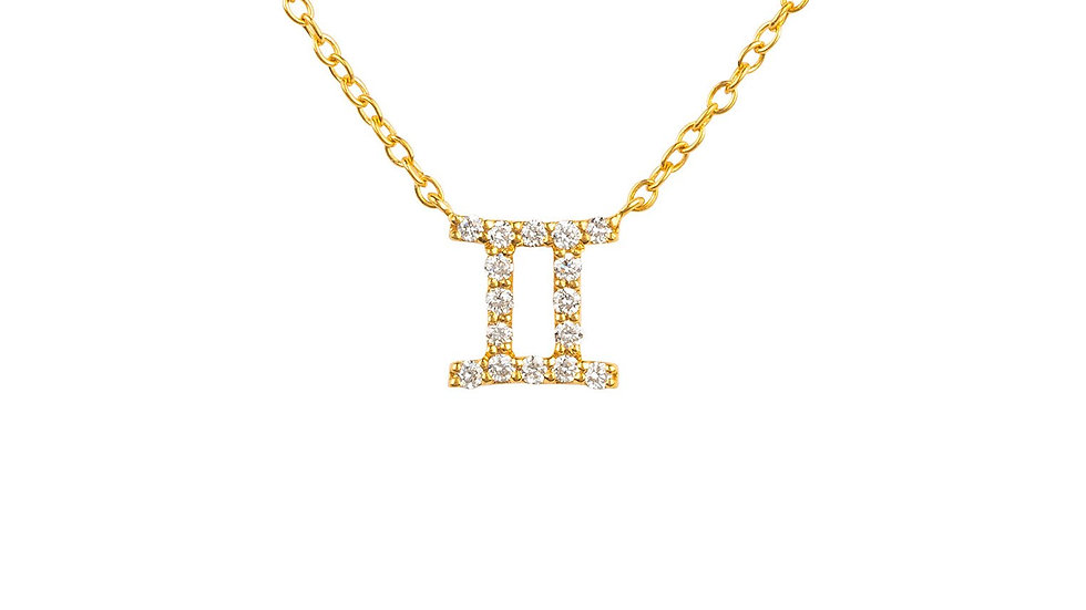 Diamond Zodiac Necklace Gold Gemini