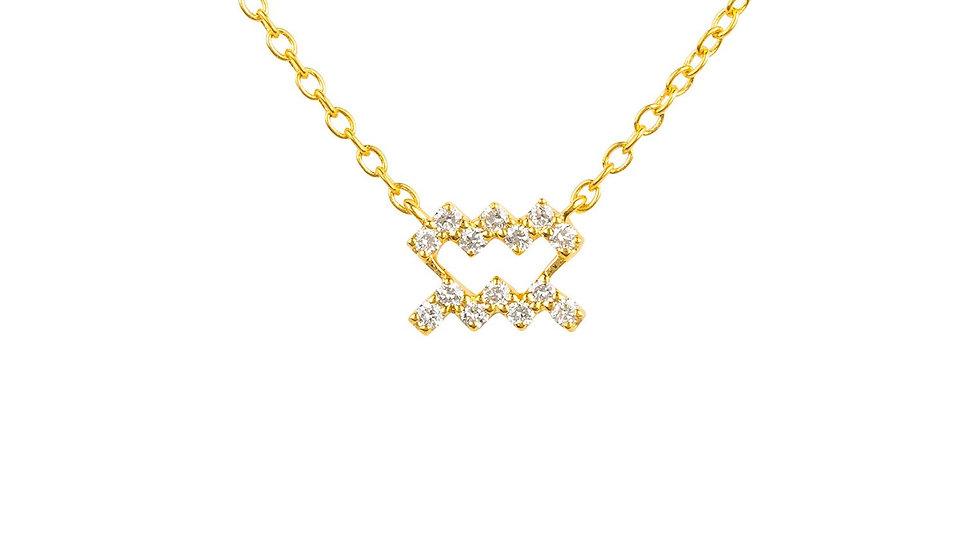 Diamond Zodiac Necklace Gold Aquarius
