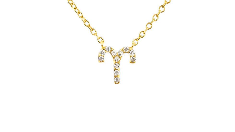 Diamond Zodiac Necklace Gold Aries