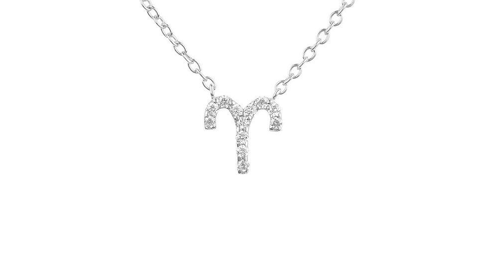 Diamond Zodiac Silver Necklace Aries