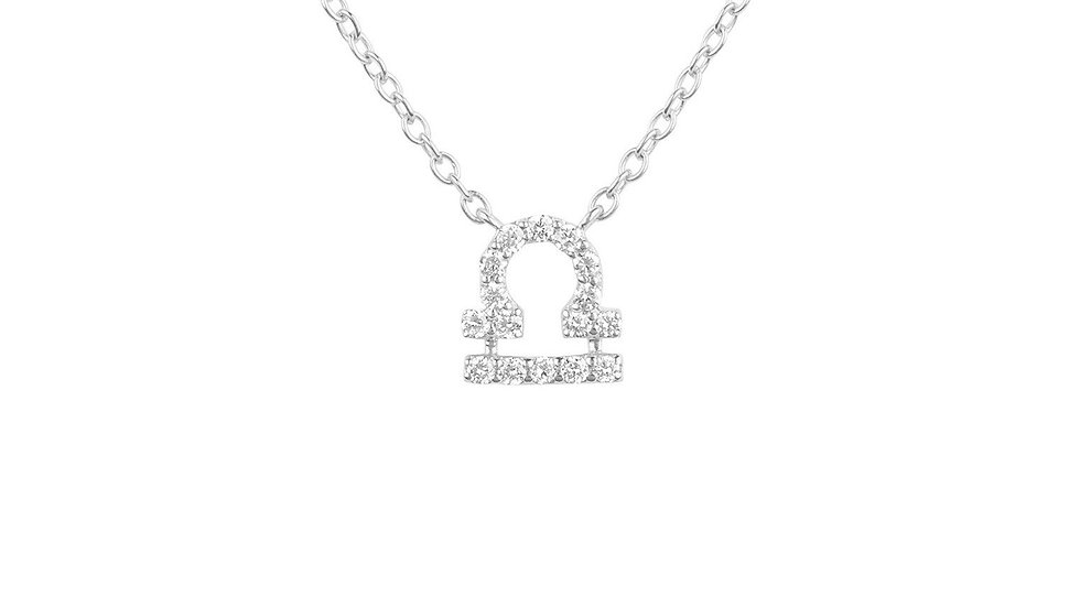 Diamond Zodiac Silver Necklace Libra